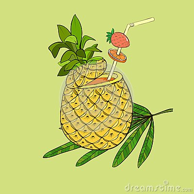 Exotic cocktail in pineapple