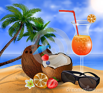 Exotic coconut cocktail Vector Illustration