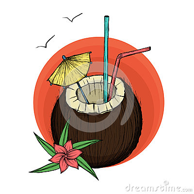 Exotic coconut cocktail. Vector Illustration