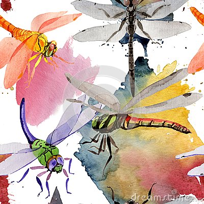 Free Exotic Dragonfly Wild Insect Pattern In A Watercolor Style. Stock Photo - 107792840