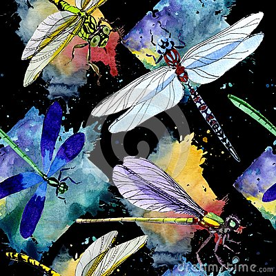 Free Exotic Dragonfly Wild Insect Pattern In A Watercolor Style. Stock Image - 107920451