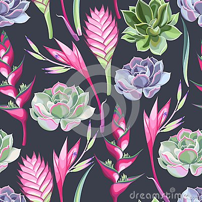 Free Exotic Flowers And Succulents Seamless Royalty Free Stock Image - 72494946
