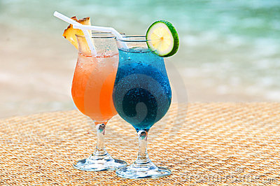 Exotic fruit cocktails at the sandy beach