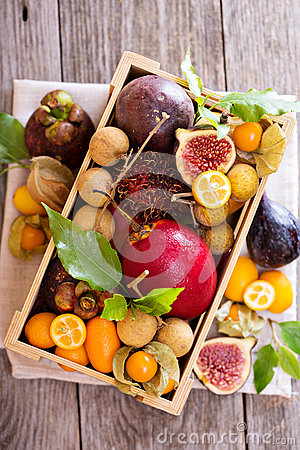 Free Exotic Fruits In A Wooden Crate Royalty Free Stock Images - 58093509