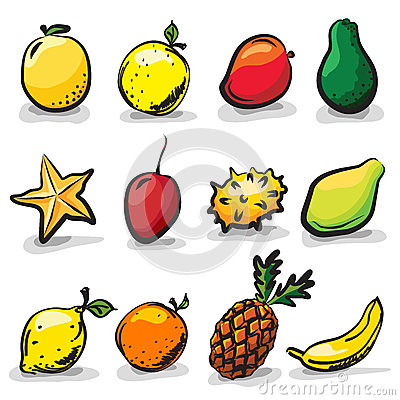 Exotic fruits sketch drawing  set