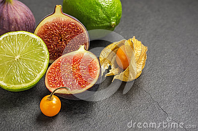 Exotic fruits on slate plate