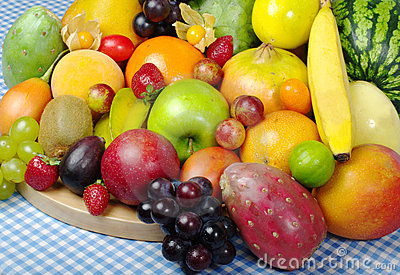 Exotic Fruits on Tablecloth