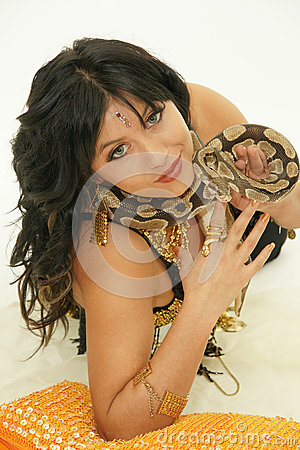 Exotic girl with python
