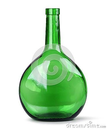Exotic green glass bottle