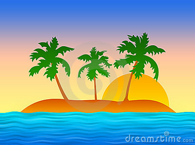 Exotic island with palms