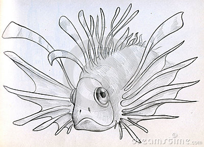 Exotic poisonous fish sketch