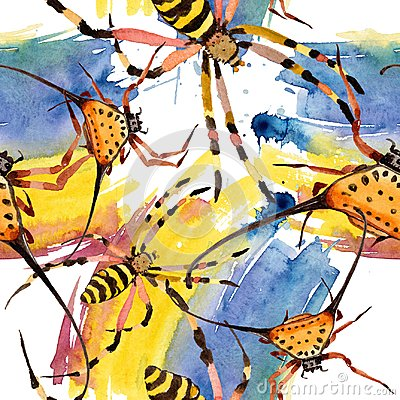 Free Exotic Spiders Wild Insect In A Watercolor Style. Seamless Background Pattern. Stock Photo - 124207860