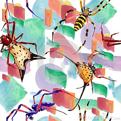 Free Exotic Spiders Wild Insect In A Watercolor Style. Seamless Background Pattern. Royalty Free Stock Photo - 124207885