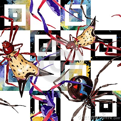 Free Exotic Spiders Wild Insect In A Watercolor Style. Seamless Background Pattern. Royalty Free Stock Photos - 124207888