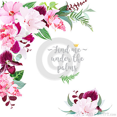 Free Exotic Tropical Floral Frame Stock Photos - 92740923