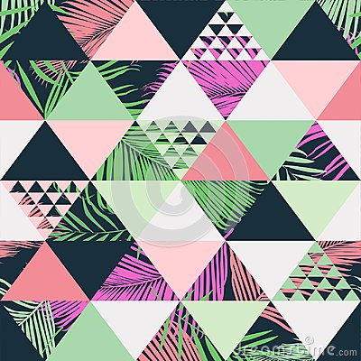 Free Exotic Tropical Leaves Beach Trendy Seamless Pattern, Illustrated Floral Vector. Wallpaper Print Background. Royalty Free Stock Images - 112837029
