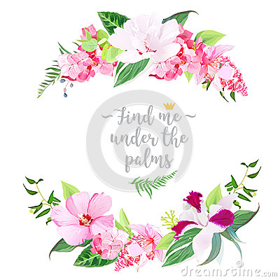 Free Exotic Tropical Round Floral Frame Royalty Free Stock Photo - 94955355