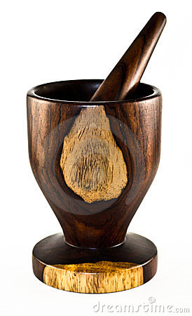 Exotic wood mortar and pestle