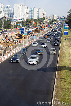 Expansion of a road, Moscow, Krilatskoe Editorial Stock Photo