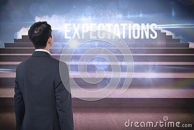 Expectations against steps against blue sky