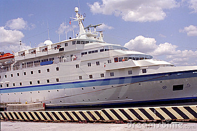 Expedition cruise ship docked at port of Tampa, Florida