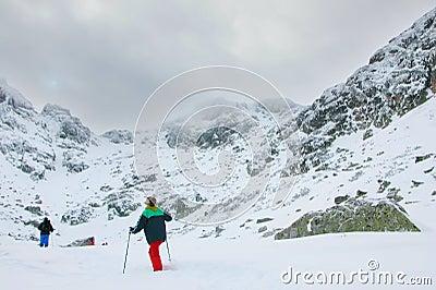 An expedition going towards mountain peak in Bulgaria
