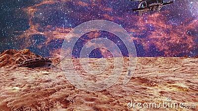 Expedition von Leuten zum Mars vektor abbildung