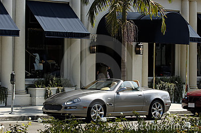 Expensive car on Rodeo Drive
