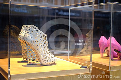 Expensive Highheeled Shoes in Shopping Window