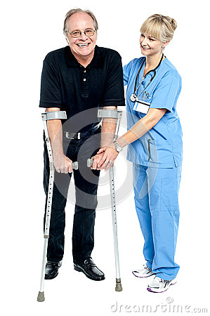 Experienced physician assisting her patient in recovery process