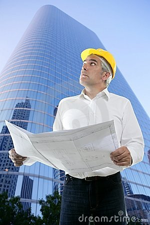 Expertise architect engineer plan looking building