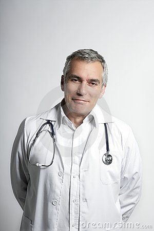 Expertise doctor senior gray hair smiling portrait