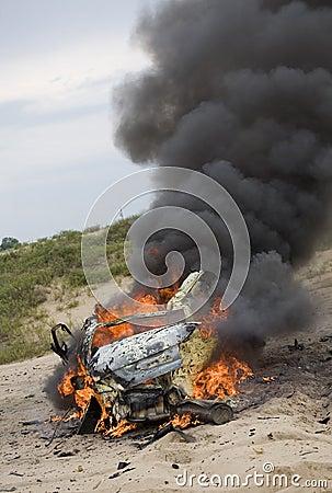 Exploded car