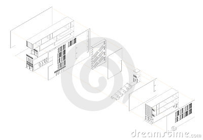 Exploded isometric drawing of a youth hostel