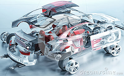 Exploded transparent car