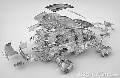 exploded transparent car stock  image