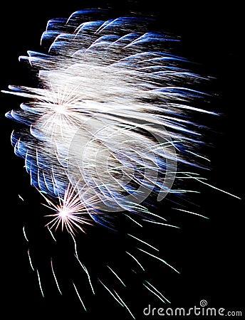 Exploding blue fireworks