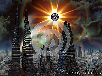 Exploding Star over Futuristic City Skyline