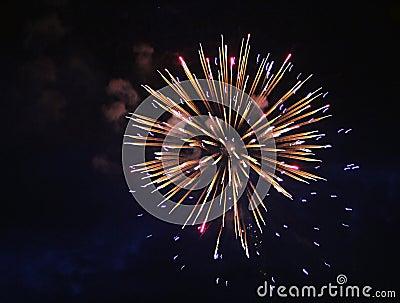 Exploding White gold light fire firework background