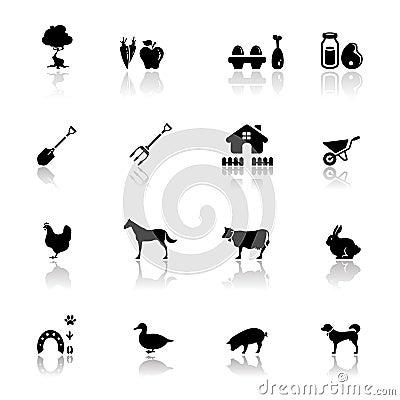 Exploração agrícola ajustada ícones