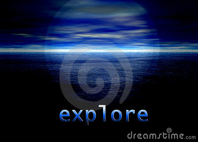 Explore Text on Bright Blue Distant Horizon