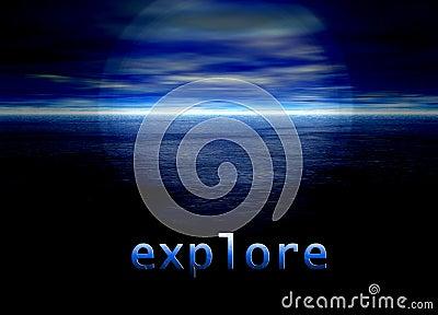 Explore Text on Bright Blue Distant Horizon