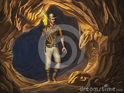 Explorer in a cave