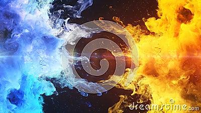 Explosão de cor - resíduo metálico alfa fluido do movimento lento de duas das explosões coloridas amarelas do fumo do azul partíc ilustração royalty free