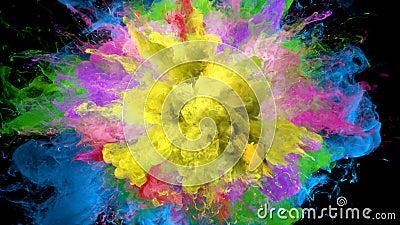 Explosão de cor - série colorida do fumo de resíduo metálico alfa das partículas fluidas das explosões ilustração do vetor