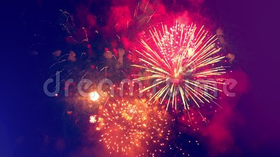 Explosões festivas de fogos de artifício à noite video estoque