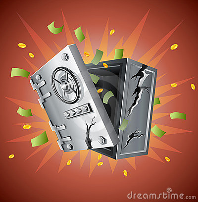 Explosion of bank safe with money