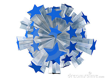 Explosion Of Blue Stars Stock Photos - Image: 18334143