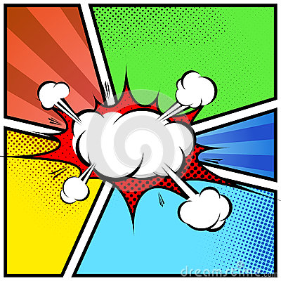 Explosion cloud abstract comic book style frame page template Vector Illustration