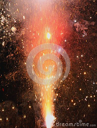 Explosion with fire in the night with sparks, light, fire, blaze